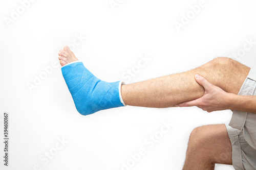 Bone fracture foot and leg on male patient close up. Wallpaper Mural