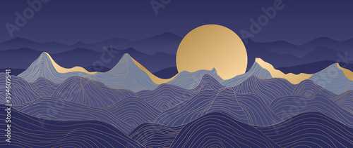 Obraz Mountain line arts background vector. Landscape with mountains and sun, Mountainous terrain, Sun set wallpaper design for wall arts, cover, fabric. Vector illustration. - fototapety do salonu