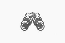 Black Logo Of Tourist Binoculars Designed As Symbol Of Nature Exploration Hand Drawn Stamp Effect Vector Illustration.