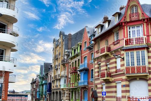 Canvastavla maisons typiques de la ville de Mers-les-Bains en France