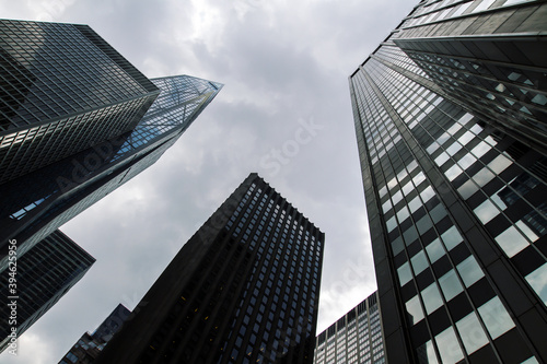 Bottom view of office skyscrapers