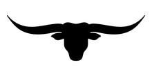 Bull Head Icon. Longhor Cattle Head Silhouette. Vector Illustration.