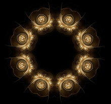 Golden Circular Fractal Pattern On A Black Background. Kaleidoscope
