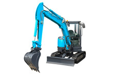Small Crawler Excavator, Front View ( Isolated On A White Background )