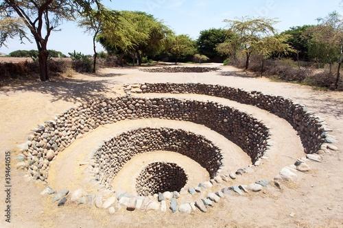 Fotografiet Cantalloc Aqueduct in Nazca or Nasca in Peru