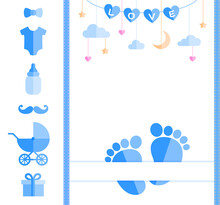 Baby Shower Card With Footprints And A Set Of Kids Stuff. Template For Little Men Fashion, Wallpaper, Textile, Birthday, Wedding, Invitations. Customizable Design