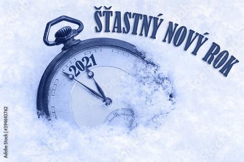 Fototapeta New year card 2021,Happy New Year 2021 greeting in Czech language, Stastny novy rok text, countdown to midnight obraz