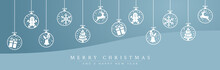 Christmas Tree Balls With Icons. Decorative Vector Background.