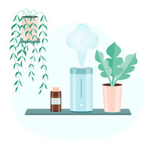 Decorative Ultrasonic Home Diffuser With A Jar Of Essential Oil And Stones For Meditation. Concept Of A Home Spa And Wellness. Aromatherapy At Home. Falt Vector Illustration. Electric Blue Humidifier