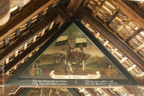Roof panels on Kapellbrucke (Chapel Bridge) in Lucerne, Switzerland Fototapet