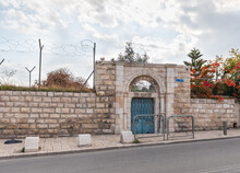 Outer Gate To The School For Girls From The UNRWA Fund Opposite The Walls Of The Old City In The Dung Gate Area In The Old City Of Jerusalem, In Israel