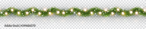 Border with green fir branches, gold lights isolated on transparent background. Pine, xmas evergreen plants seamless banner. Vector Christmas tree garland decoration