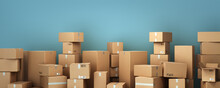 Cardboard Boxes On Pallet Delivery And Transportation Logistics Storage 3d Render Image