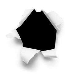 Black hole in paper, isolated on white background
