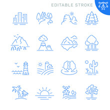 Landscape Related Icons. Editable Stroke. Thin Vector Icon Set