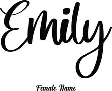 Emily-Female Name Cursive Calligraphy Phrase On White Background