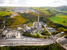 Aerial View Of Breedon Hope Cement Works Near Castleton In Peak District