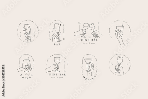 Canvas Print Vector design linear template logos or emblems - hands in in different gestures glass of drink