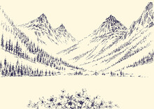 Mountains Panorama And Alpine Pine Forest Landscape Hand Drawing