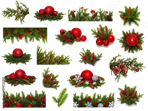 Christmas decoration collection isolated on a white background