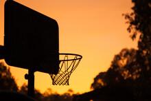 Basketball Net Silhouette In A Golden Sunrise