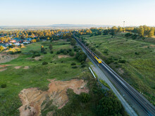 Coal Train Engine Traveling Past Singleton