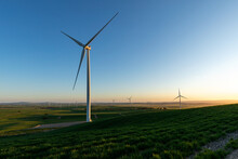 Wind Turbine With Wind Farm In...