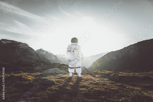 Astronaut exploring a new planet Wallpaper Mural