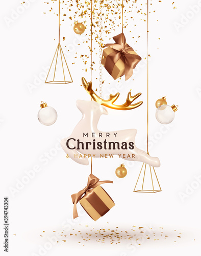 Merry Christmas and Happy New Year. Background with realistic festive gifts box. Porcelain figurines of beautiful white deer. Christmas poster, holiday banner, flyer, stylish brochure, greeting card