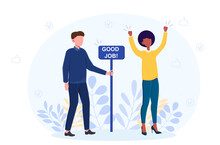 Man And Woman Standing Near Sign Good Job. Abstract Concept Of Completed Things And Task, Good Done Job And Accomplished Work. Flat Cartoon Vector Illustration