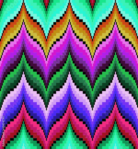 Bargello seamless vector pattern multi colored, traditional italian embroidery, Wallpaper Mural