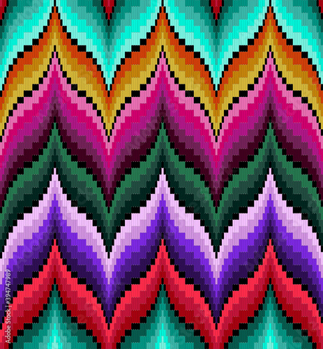 Cuadros en Lienzo Bargello seamless pattern multicolor, traditional italian embroidery, florentine