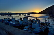 Greece-view On The Sunrise In Harbor In Tolo