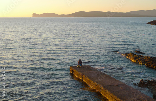 view from seafront bastions in alghero, sardinia, italy Canvas