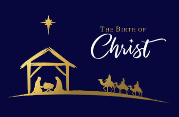 Panel Szklany Koszykówka The birth of Christ, Nativity scene of baby Jesus in the manger. Holy family, three wise kings and star of Bethlehem, banner design. Vector Christmas golden illustration silhouette Mary and Joseph