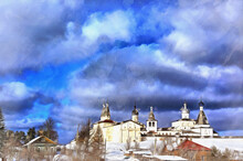 Winter View On Russian Monastery Colorful Painting Looks Like Picture, Ferapontovo, Vologda Region, Russia.