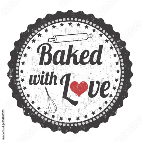 Fotografie, Tablou Baked with love grunge rubber stamp