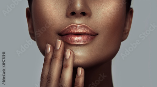 Fototapeta Beauty woman face closeup, lips and nails close-up, beautiful African American model girl's mouth, healthy skin