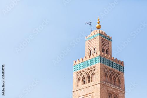 Famous Marrakech Koutoubia Mosque minaret Fototapet