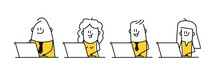 Funny Stick Figures With Positive Emotions Working On Laptop.