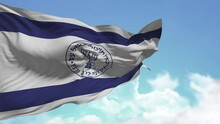 The Flag With The Symbols Of The Israeli Security Services And Intelligence Waving Against The Blue Sky With Clouds. Hebrew Inscription, Menorah Image, Selective Focus, Alpha Channel.