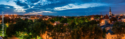 Fototapety, obrazy: Amazing aerial drone shot of old town of Tallinn, Estonia at sunset