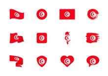 Tunisia Flag - Flat Collection. Flags Of Different Shaped Twelve Flat Icons.