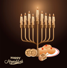 Happy Hanukkah Celebration With Candelabrum And Dreidels And Food