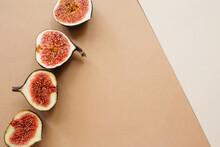 Fresh Sliced Ripe Figs On Ligh...