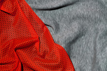 Close-up Of Crumpled Red And Gray Textile