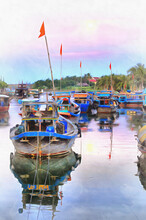Beautiful Evening With Boats On The River In Hoi An Colorful Painting Looks Like Picture, Thu Bon River, Vietnam.