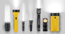 Flashlight, Portable Spotlight And Torch With Lighting Ray. Different Realistic Pocket Searchlight And Hand-held Lamp Light Source Shiny Glowing Beam Vector Illustration Isolated On White Background