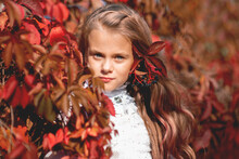Portrait Of Girl Standing By Red Plant Leaves During Autumn