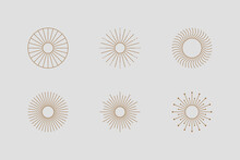 Big Set Of Sun Shapes And Sunburst In Minimal Trendy Style. Vector Icon, Logo, Labels, Badges Isolated. Boho Illustration For T-shirts Print, Wall Art, Cards.
